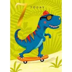 7 jaar - verjaardagskaart 7 today - dinosaurus