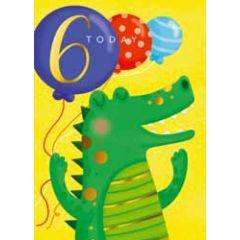 6 jaar - verjaardagskaart 6 today - krokodil