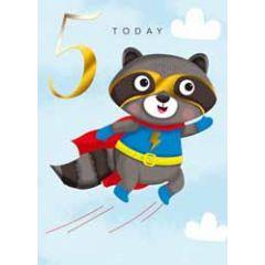 5 jaar - verjaardagskaart 5 today - wasbeer
