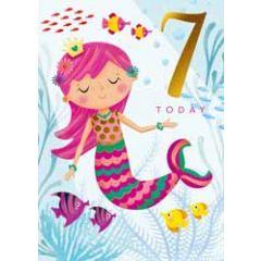 7 jaar - verjaardagskaary 7 today - zeemeermin