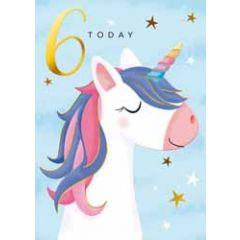 6 jaar - verjaardagskaary 6 today - eenhoorn