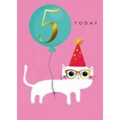 5 jaar - verjaardagskaary 5 today - kat