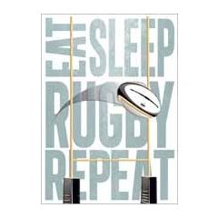 verjaardagskaart - eat sleep rugby repeat