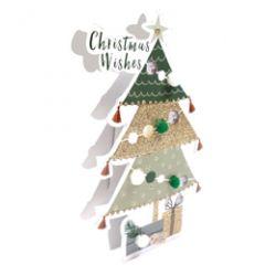 3d kerstkaart paper dazzle - christmas wishes - kerstboom