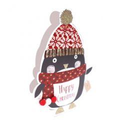 3d kerstkaart paper dazzle - happy christmas - pinguin