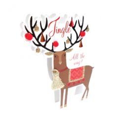 3d kerstkaart paper dazzle - jingle all the way - rendier