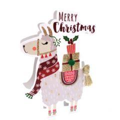 3d kerstkaart paper dazzle - merry christmas - lama