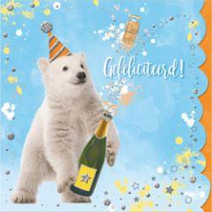 felicitatiekaart cuddles - gefeliciteerd! - ijsbeer met champagne