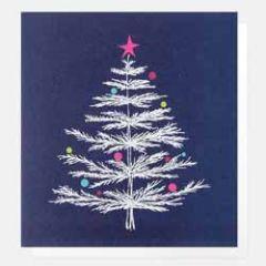 luxe kerstkaart caroline gardner - kerstboom donkerblauw