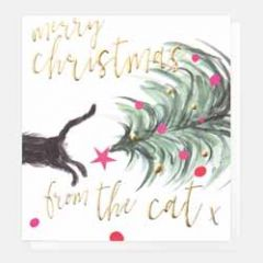 luxe kerstkaart caroline gardner - merry christmas from the cat x