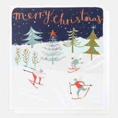 luxe kerstkaart caroline gardner - merry christmas - ski