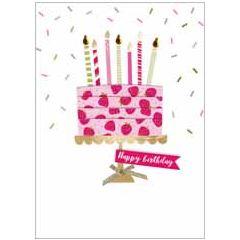 wenskaart second nature - happy birthday - taart met kaarsjes