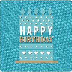 luxe verjaardagskaart - happy birthday - blauw