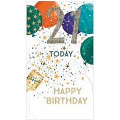 21 jaar - grote luxe verjaardagskaart - 21 today, happy birthday - ballonnen