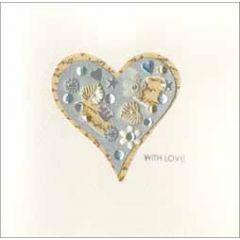 luxe handgemaakte wenskaart jewelled - with love - hart