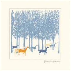 wenskaart woodmansterne - paarden in bos