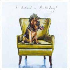 wenskaart woodmansterne - i detect a birthday! - hond