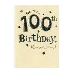 verjaardagskaart 100 jaar - on your 100th birthday congratulations