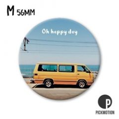 koelkastmagneet pickmotion - oh happy day - geel busje