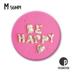koelkastmagneet pickmotion - be happy - hart roze