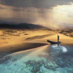 vierkante ansichtkaart met envelop - maïlo - zee en woestijn