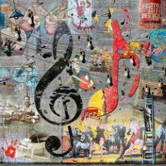 vierkante ansichtkaart met envelop - maïlo - muziek