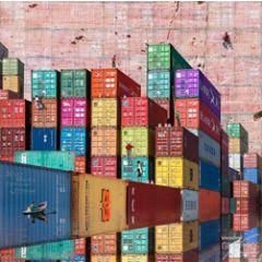 vierkante ansichtkaart met envelop - maïlo - soyez réalistes - containers