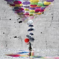 vierkante ansichtkaart met envelop - maïlo - colorer le monde - paraplu