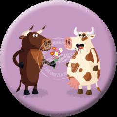 koelkastmagneet rémy tornior - stier geeft bloemen aan koe
