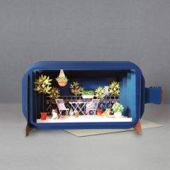 3D pop up kaart - message in a bottle - katten op balkon