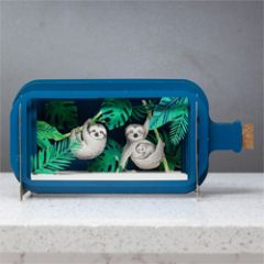 3D pop up kaart - message in a bottle - luiaards met baby