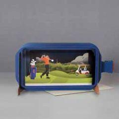 3D pop up wenskaart - message in a bottle - golf man