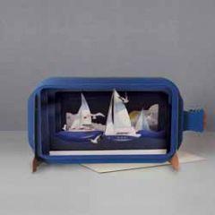 3D pop up wenskaart - message in a bottle - zeilboten