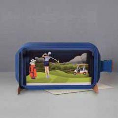3D pop up wenskaart - message in a bottle - golf vrouw