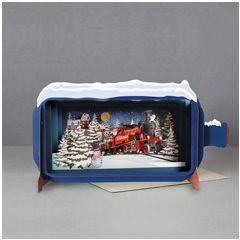 3D pop up kerstkaart - message in a bottle - santa express