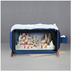 3D pop up kerstkaart - message in a bottle - spelen in de sneeuw