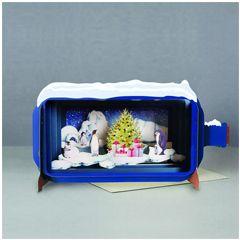 3D pop up kerstkaart - message in a bottle - pinguins bij kerstboom