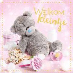 3d geboortekaart - lenticulaire kaart - me to you - welkom kleintje - roze