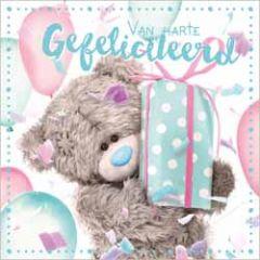 3d wenskaart - lenticulaire kaart - me to you - van harte gefeliciteerd