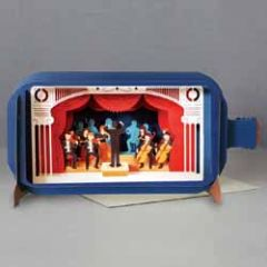 3D pop up wenskaart - message in a bottle - orkest muziek