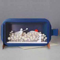 3D pop up wenskaart - message in a bottle - bloemen plukken