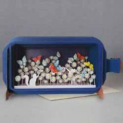 3D pop up wenskaart - message in a bottle - katten vlinders bloemen