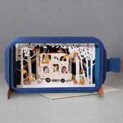 3D pop up wenskaart - message in a bottle - dieren in bus