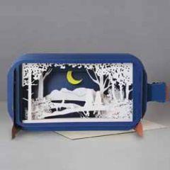 3D pop up wenskaart - message in a bottle - meisjes op boomtak in maanlicht