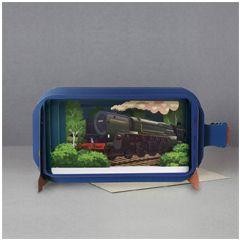 3D pop up wenskaart - message in a bottle - oliver cromwell - trein locomotief | muller wenskaarten