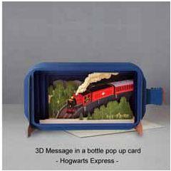 3D pop up wenskaart - message in a bottle - hogwarts express - trein locomotief | muller wenskaarten
