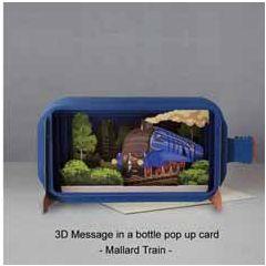 3D pop up wenskaart - message in a bottle - mallard train - trein locomotief | muller wenskaarten