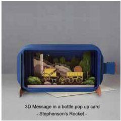 3D pop up wenskaart - message in a bottle - stephenson's rocket - trein locomotief | muller wenskaarten