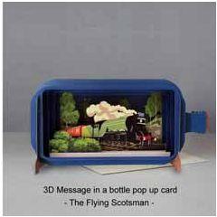 3D pop up wenskaart - message in a bottle - the flying scotsman - trein locomotief | muller wenskaarten