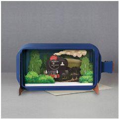 3D pop up wenskaart - message in a bottle - tornado train - trein locomotief | muller wenskaarten